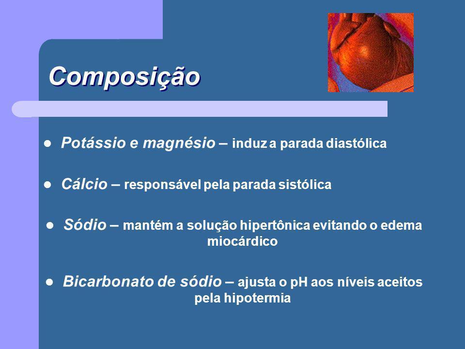 Composição Potássio e magnésio – induz a parada diastólica Cálcio – responsável pela parada sistólica Sódio – mantém a solução hipertônica evitando o