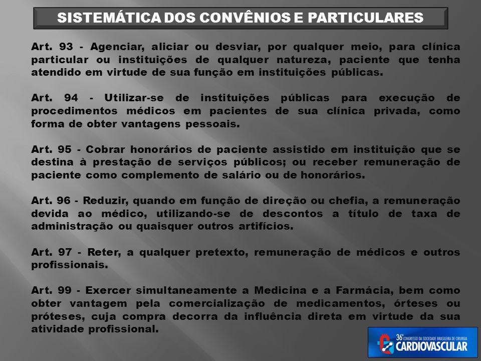 SISTEMÁTICA DOS CONVÊNIOS E PARTICULARES Art. 93 - Agenciar, aliciar ou desviar, por qualquer meio, para clínica particular ou instituições de qualque