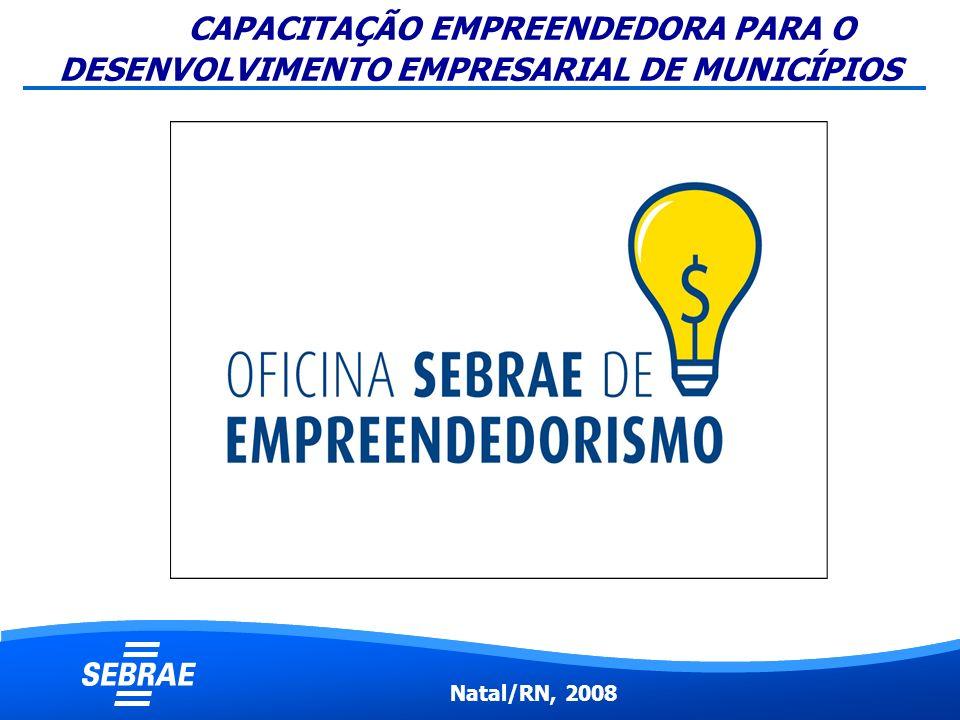 CAPACITAÇÃO EMPREENDEDORA PARA O DESENVOLVIMENTO EMPRESARIAL DE MUNICÍPIOS Natal/RN, 2008