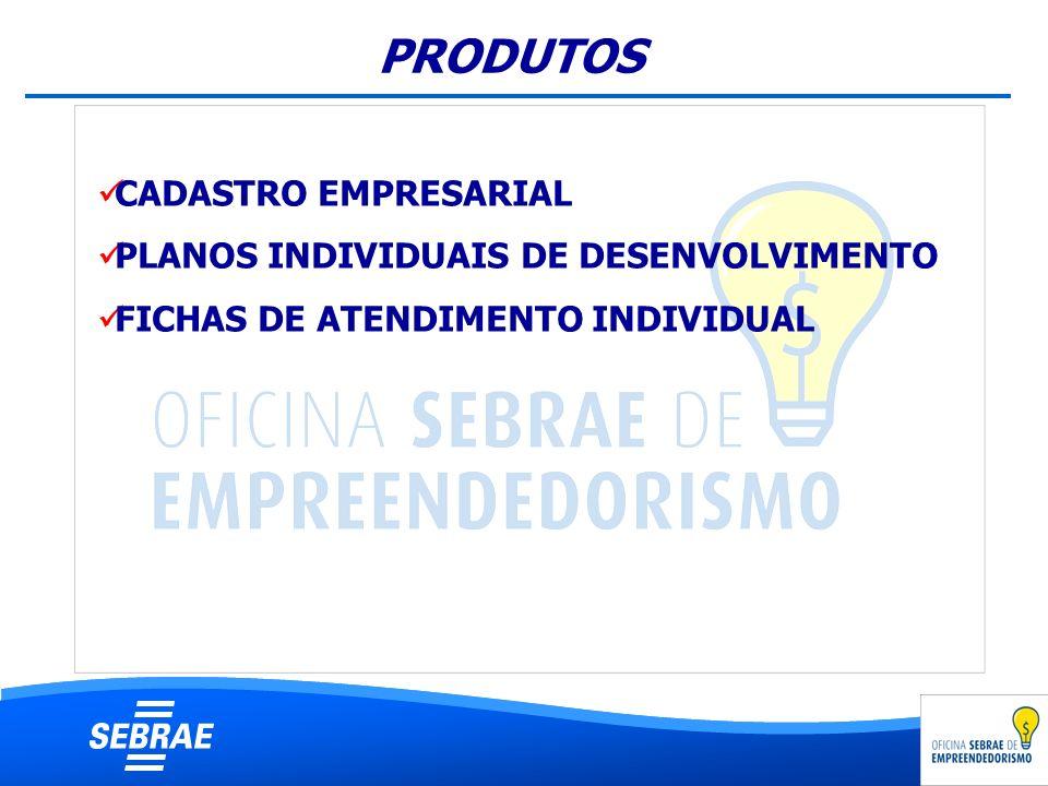 CADASTRO EMPRESARIAL PLANOS INDIVIDUAIS DE DESENVOLVIMENTO FICHAS DE ATENDIMENTO INDIVIDUAL PRODUTOS