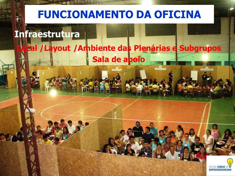 Infraestrutura Local /Layout /Ambiente das Plenárias e Subgrupos Sala de apoio FUNCIONAMENTO DA OFICINA