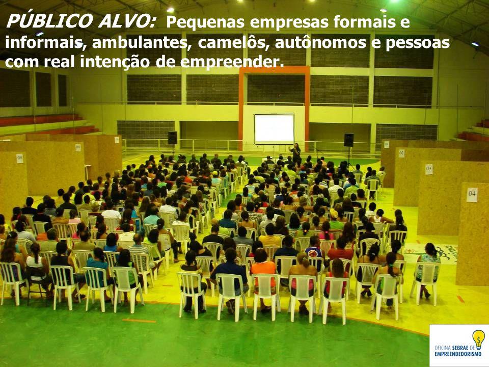 PÚBLICO ALVO: Pequenas empresas formais e informais, ambulantes, camelôs, autônomos e pessoas com real intenção de empreender.