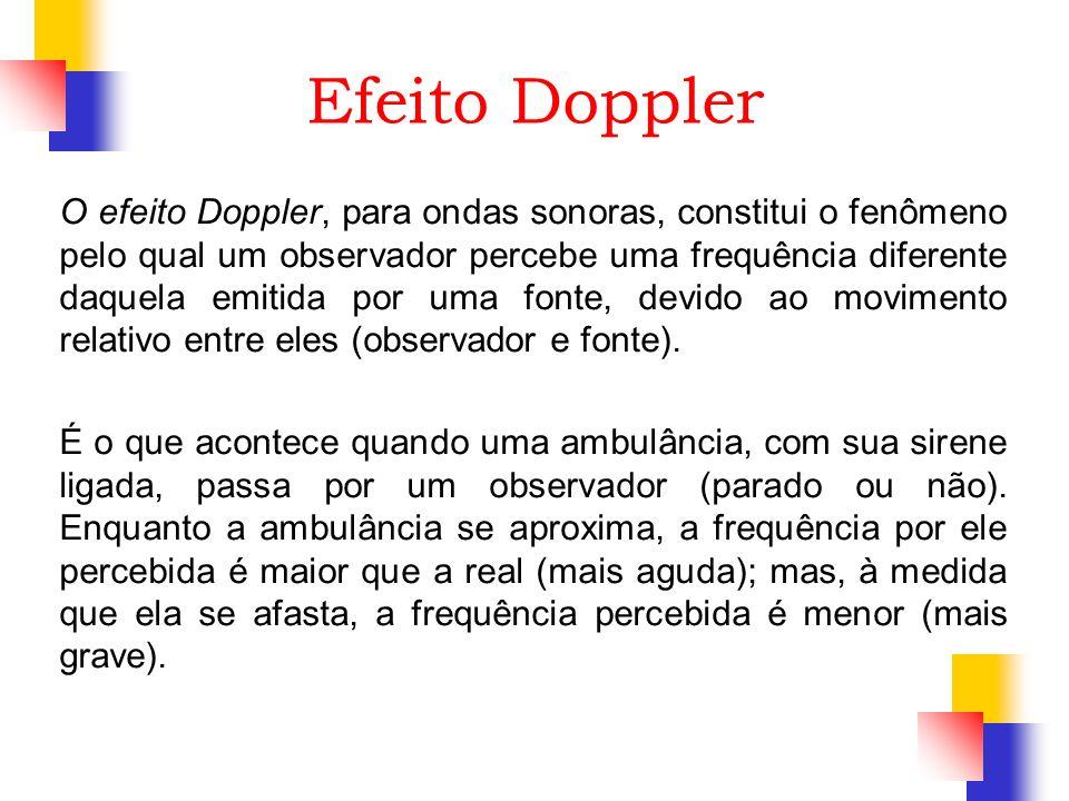 Efeito Doppler O efeito Doppler, para ondas sonoras, constitui o fenômeno pelo qual um observador percebe uma frequência diferente daquela emitida por