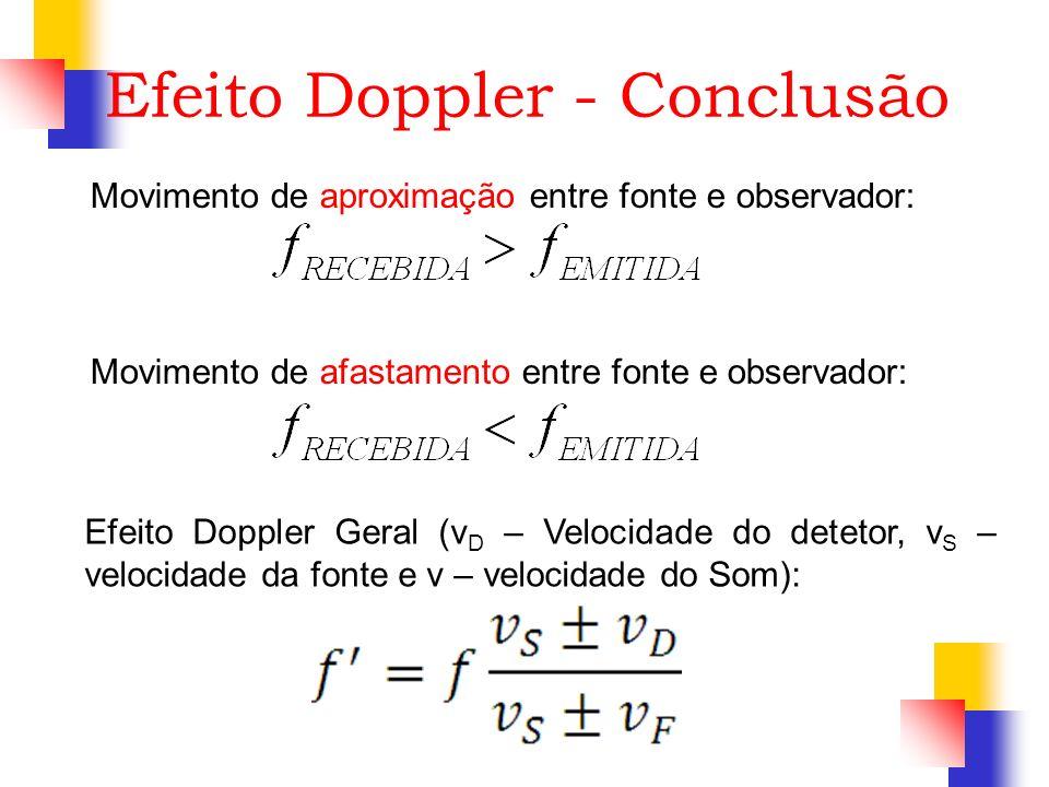 Efeito Doppler - Conclusão Movimento de aproximação entre fonte e observador: Movimento de afastamento entre fonte e observador: Efeito Doppler Geral
