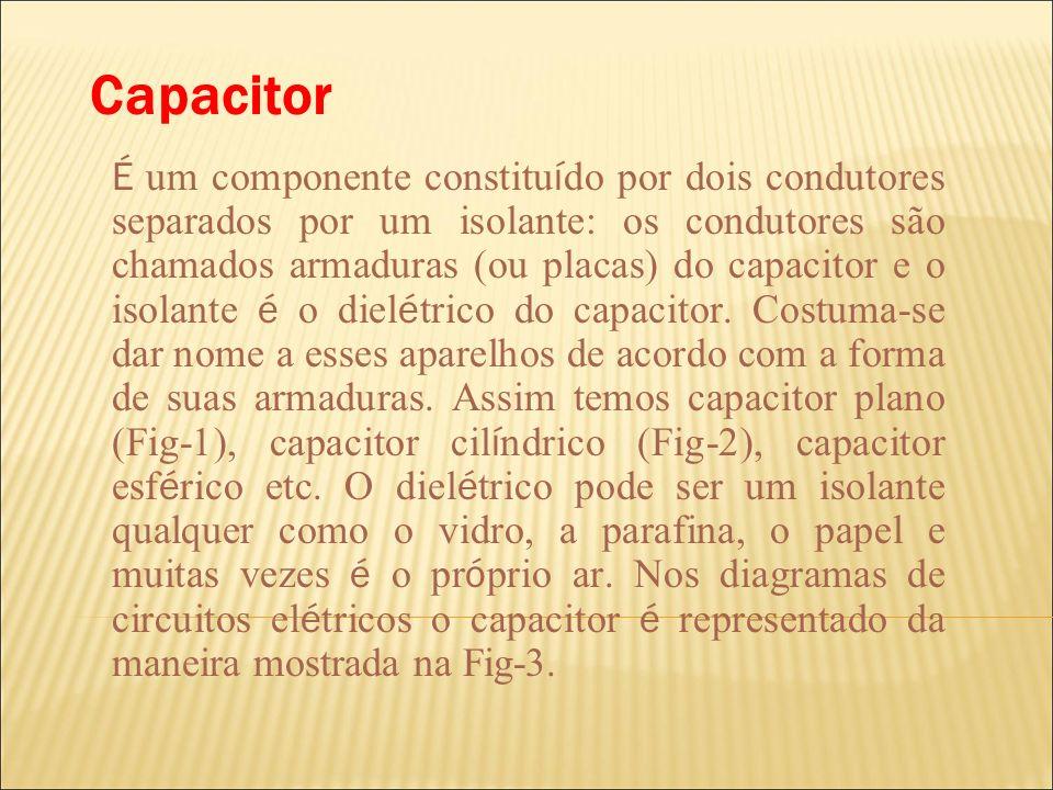 Capacitor É um componente constitu í do por dois condutores separados por um isolante: os condutores são chamados armaduras (ou placas) do capacitor e