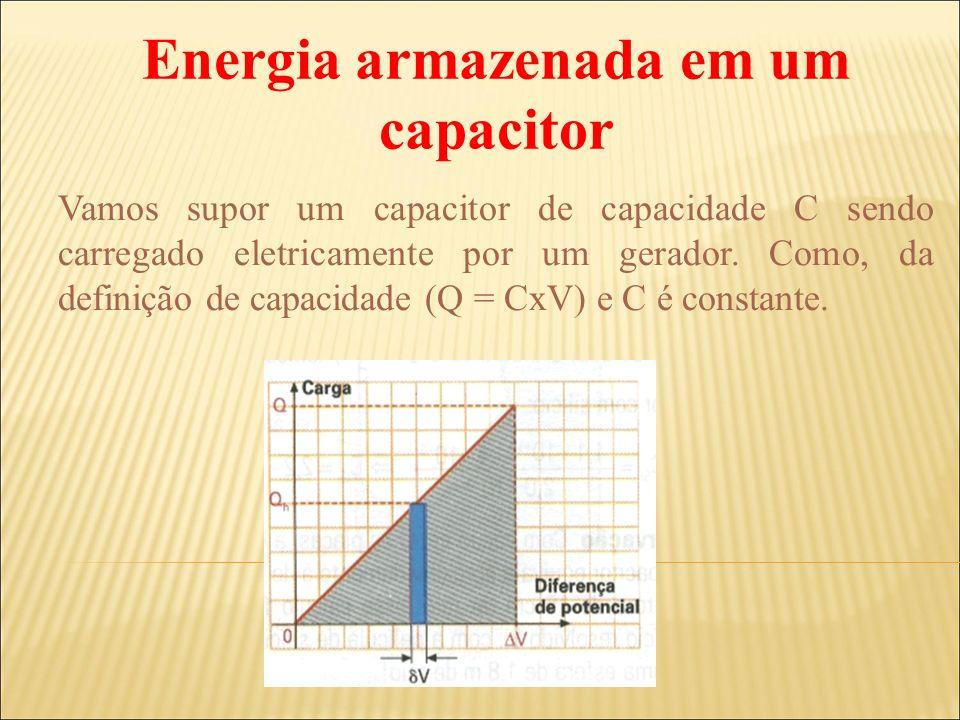 Vamos supor um capacitor de capacidade C sendo carregado eletricamente por um gerador. Como, da definição de capacidade (Q = CxV) e C é constante. Ene
