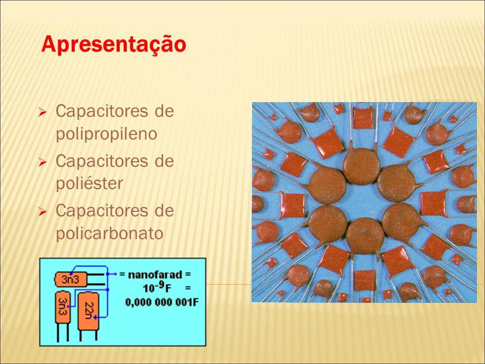 Apresentação Capacitores de polipropileno Capacitores de poliéster Capacitores de policarbonato