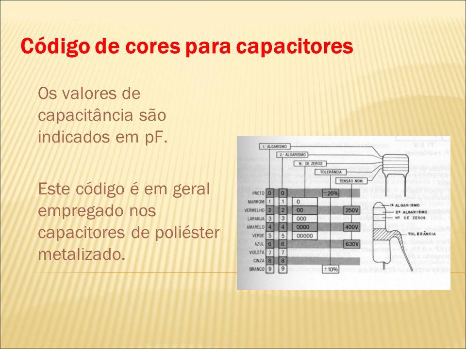 Código de cores para capacitores Os valores de capacitância são indicados em pF. Este código é em geral empregado nos capacitores de poliéster metaliz