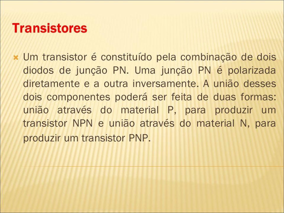 Transistores Um transistor é constituído pela combinação de dois diodos de junção PN. Uma junção PN é polarizada diretamente e a outra inversamente. A