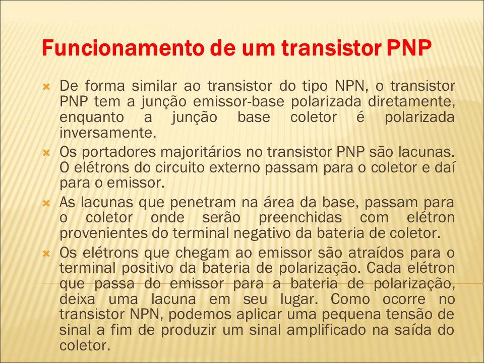 Funcionamento de um transistor PNP De forma similar ao transistor do tipo NPN, o transistor PNP tem a junção emissor-base polarizada diretamente, enqu