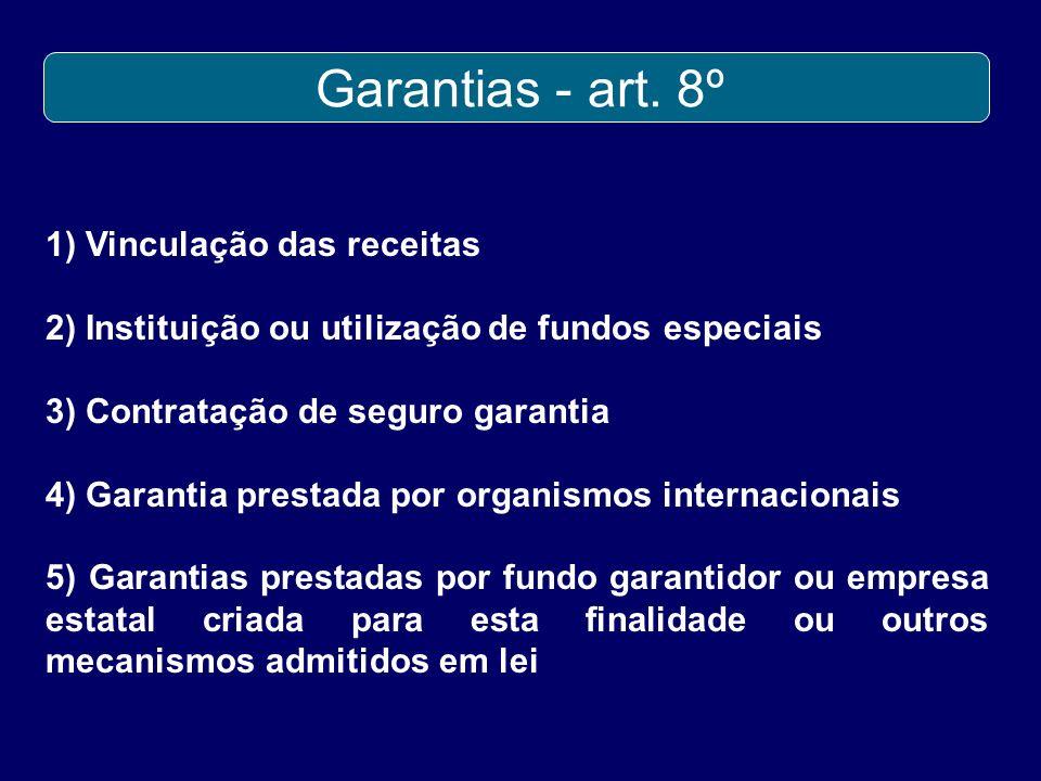 Garantias - art. 8º 1) Vinculação das receitas 2) Instituição ou utilização de fundos especiais 3) Contratação de seguro garantia 4) Garantia prestada
