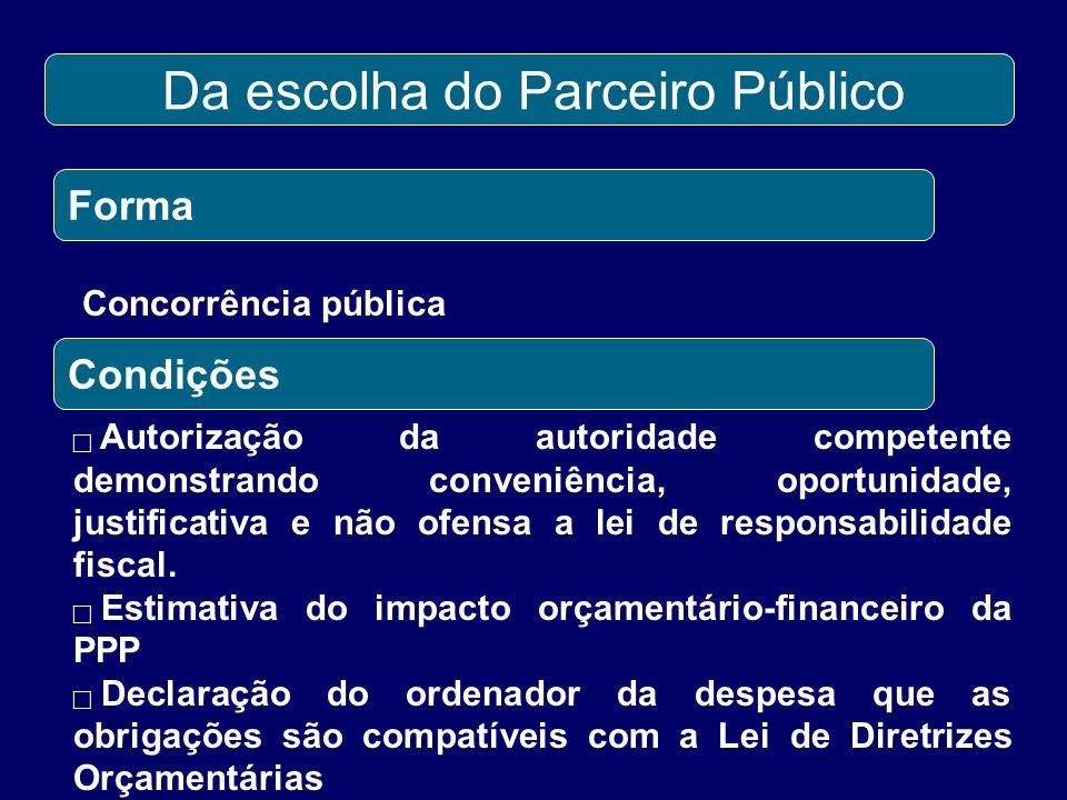 Da escolha do Parceiro Público Forma Concorrência pública Condições Autorização da autoridade competente demonstrando conveniência, oportunidade, just