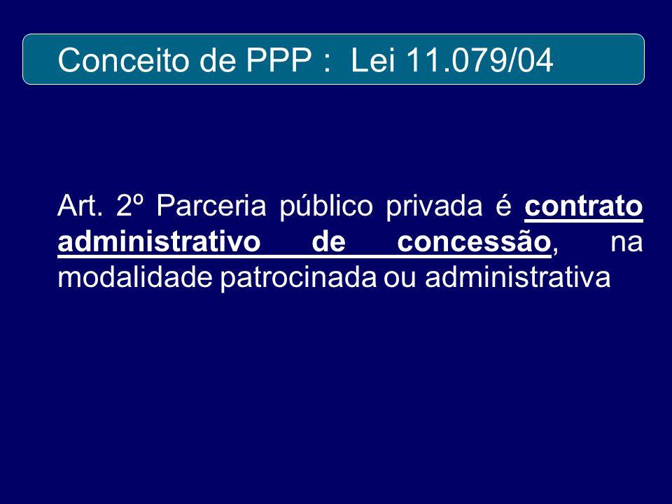 Conceito de PPP : Lei 11.079/04 Art. 2º Parceria público privada é contrato administrativo de concessão, na modalidade patrocinada ou administrativa