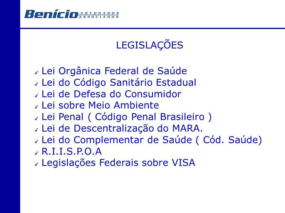 LEGISLAÇÕES Lei Orgânica Federal de Saúde Lei do Código Sanitário Estadual Lei de Defesa do Consumidor Lei sobre Meio Ambiente Lei Penal ( Código Pena