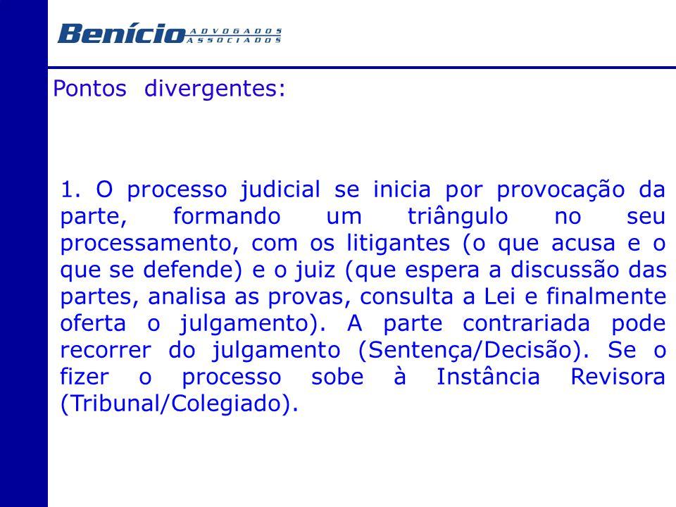 Pontos divergentes: 1. O processo judicial se inicia por provocação da parte, formando um triângulo no seu processamento, com os litigantes (o que acu