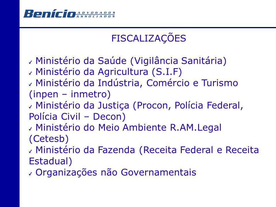 FISCALIZAÇÕES Ministério da Saúde (Vigilância Sanitária) Ministério da Agricultura (S.I.F) Ministério da Indústria, Comércio e Turismo (inpen – inmetr