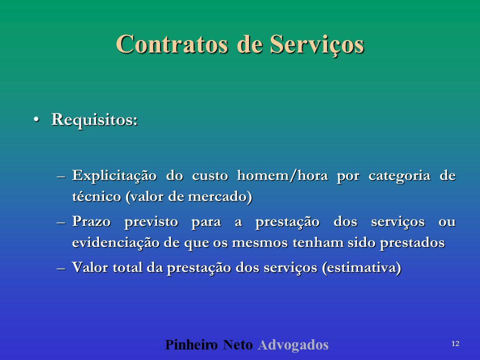 12 P inheiro N eto A dvogados Contratos de Serviços Requisitos:Requisitos: –Explicitação do custo homem/hora por categoria de técnico (valor de mercad