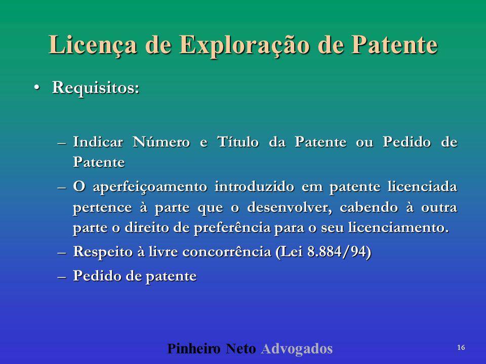 16 P inheiro N eto A dvogados Licença de Exploração de Patente Requisitos:Requisitos: –Indicar Número e Título da Patente ou Pedido de Patente –O aper
