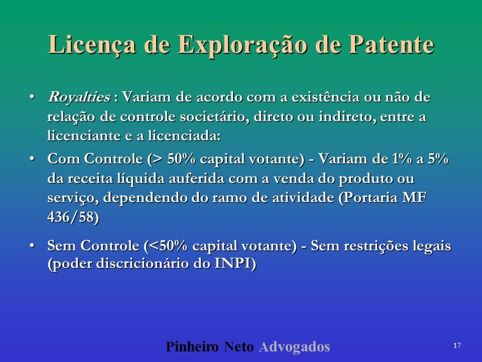 17 P inheiro N eto A dvogados Licença de Exploração de Patente Royalties : Variam de acordo com a existência ou não de relação de controle societário,