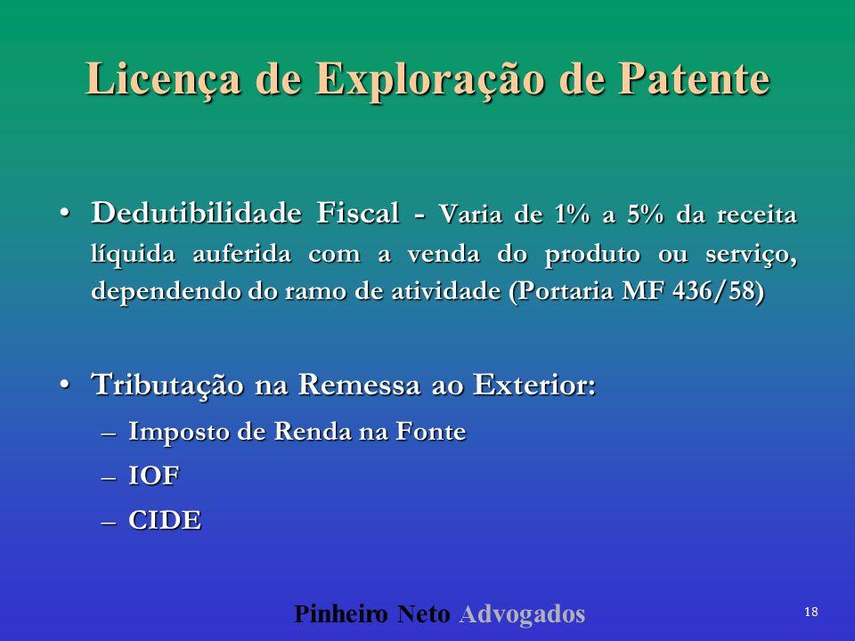 18 P inheiro N eto A dvogados Licença de Exploração de Patente Dedutibilidade Fiscal - Varia de 1% a 5% da receita líquida auferida com a venda do pro