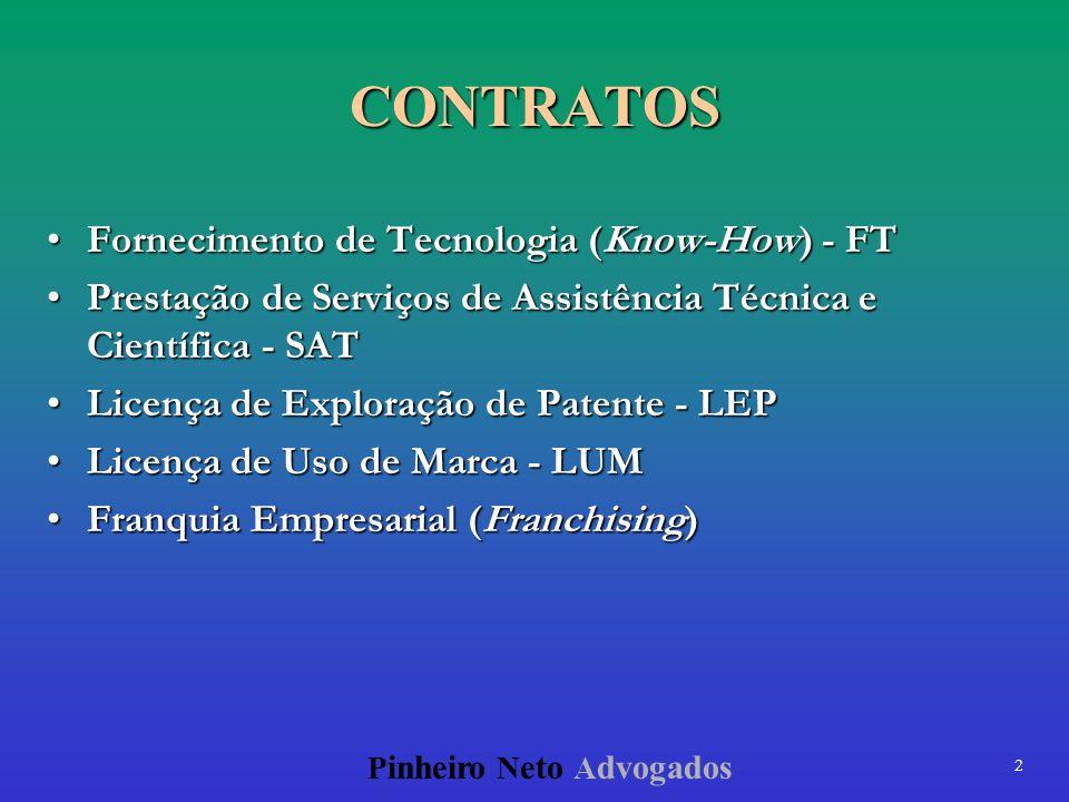 2 P inheiro N eto A dvogados CONTRATOS Fornecimento de Tecnologia (Know-How) - FTFornecimento de Tecnologia (Know-How) - FT Prestação de Serviços de A