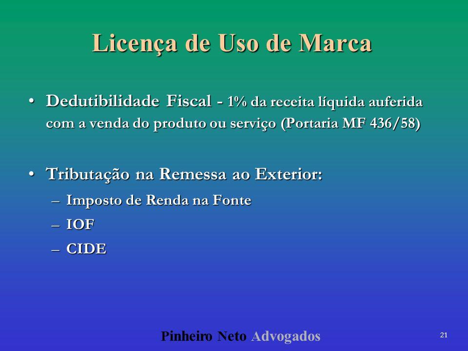 21 P inheiro N eto A dvogados Licença de Uso de Marca Dedutibilidade Fiscal - 1% da receita líquida auferida com a venda do produto ou serviço (Portar