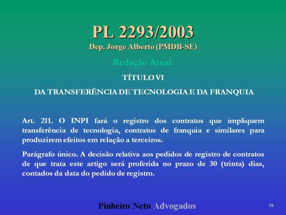 26 P inheiro N eto A dvogados PL 2293/2003 Dep. Jorge Alberto (PMDB-SE) Redação Atual: TÍTULO VI DA TRANSFERÊNCIA DE TECNOLOGIA E DA FRANQUIA Art. 211