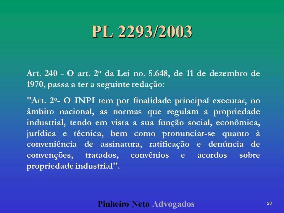 28 P inheiro N eto A dvogados PL 2293/2003 Art. 240 - O art. 2 o da Lei no. 5.648, de 11 de dezembro de 1970, passa a ter a seguinte redação: