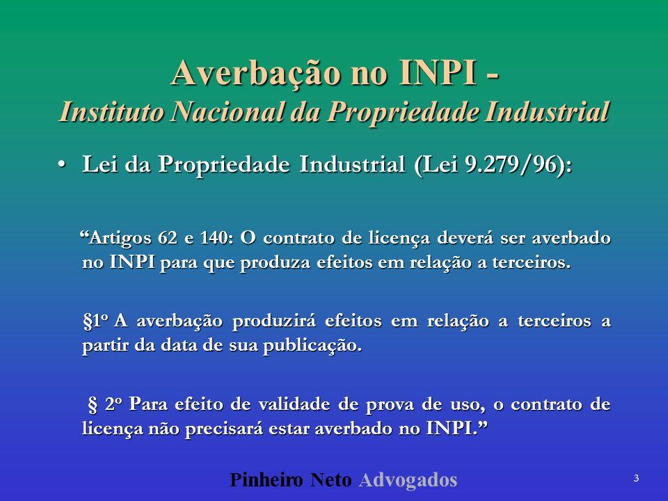 3 P inheiro N eto A dvogados Averbação no INPI - Instituto Nacional da Propriedade Industrial Lei da Propriedade Industrial (Lei 9.279/96):Lei da Prop