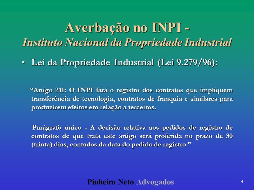 4 P inheiro N eto A dvogados Averbação no INPI - Instituto Nacional da Propriedade Industrial Lei da Propriedade Industrial (Lei 9.279/96):Lei da Prop