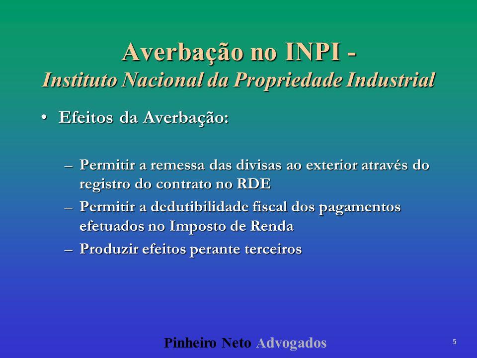 5 P inheiro N eto A dvogados Averbação no INPI - Instituto Nacional da Propriedade Industrial Efeitos da Averbação:Efeitos da Averbação: –Permitir a r