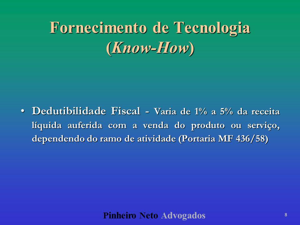 8 P inheiro N eto A dvogados Fornecimento de Tecnologia (Know-How) Dedutibilidade Fiscal - Varia de 1% a 5% da receita líquida auferida com a venda do