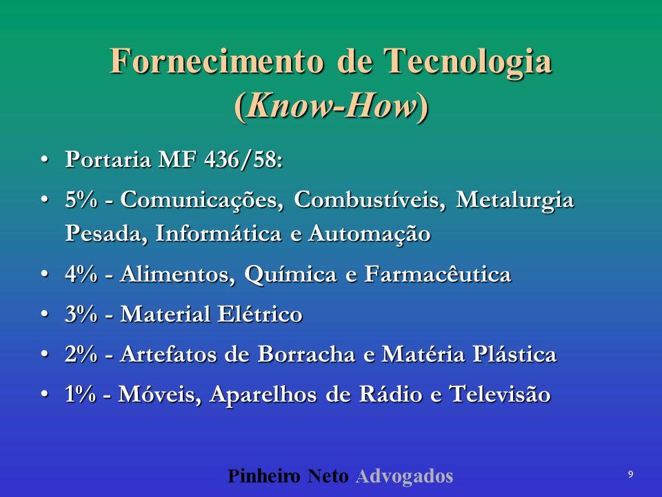 9 P inheiro N eto A dvogados Fornecimento de Tecnologia (Know-How) Portaria MF 436/58:Portaria MF 436/58: 5% - Comunicações, Combustíveis, Metalurgia