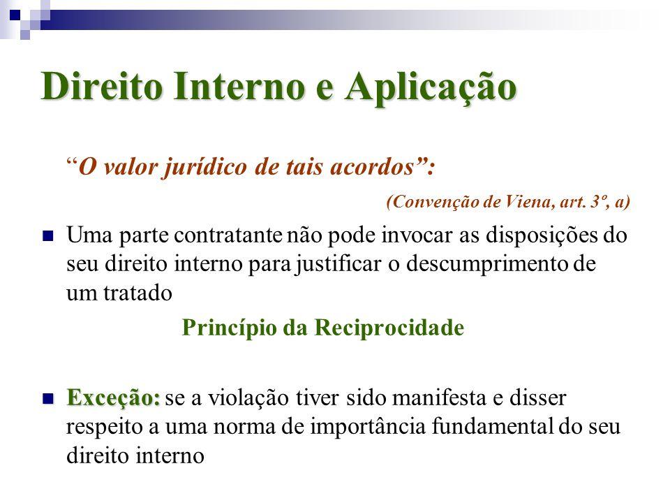 Direito Interno e Aplicação O valor jurídico de tais acordos: (Convenção de Viena, art. 3º, a) Uma parte contratante não pode invocar as disposições d