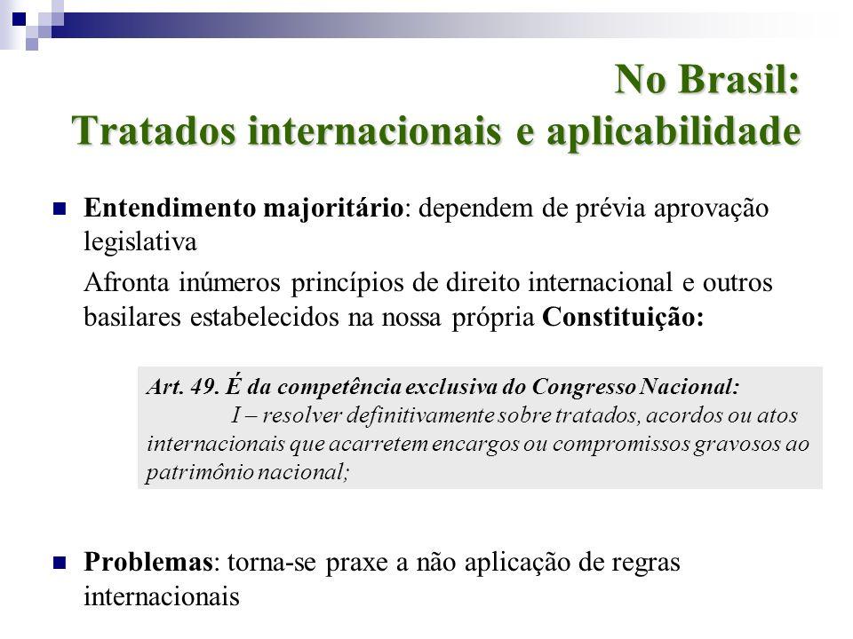 No Brasil: Tratados internacionais e aplicabilidade Entendimento majoritário: dependem de prévia aprovação legislativa Afronta inúmeros princípios de