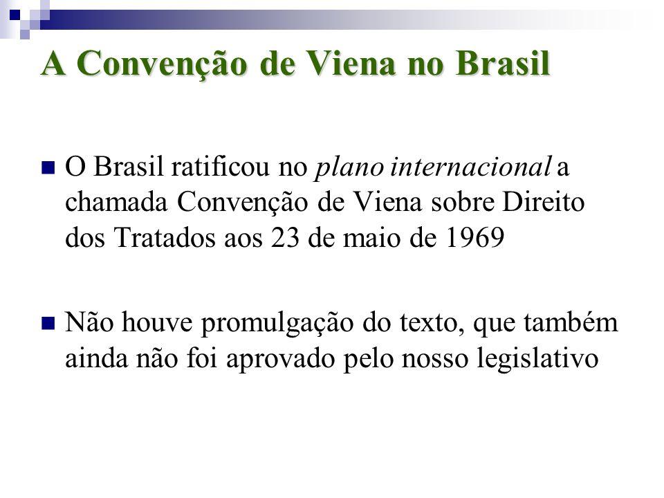 A Convenção de Viena no Brasil O Brasil ratificou no plano internacional a chamada Convenção de Viena sobre Direito dos Tratados aos 23 de maio de 196