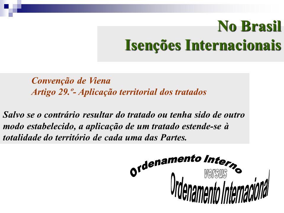 No Brasil Isenções Internacionais Convenção de Viena Artigo 29.º- Aplicação territorial dos tratados Salvo se o contrário resultar do tratado ou tenha