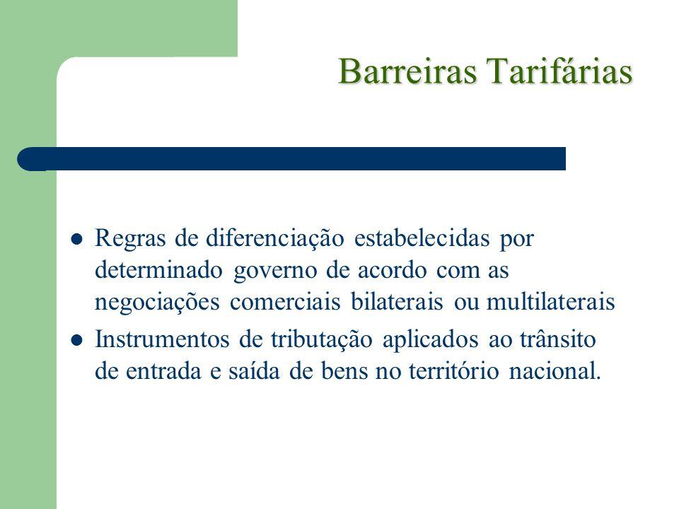 Barreiras Tarifárias Regras de diferenciação estabelecidas por determinado governo de acordo com as negociações comerciais bilaterais ou multilaterais