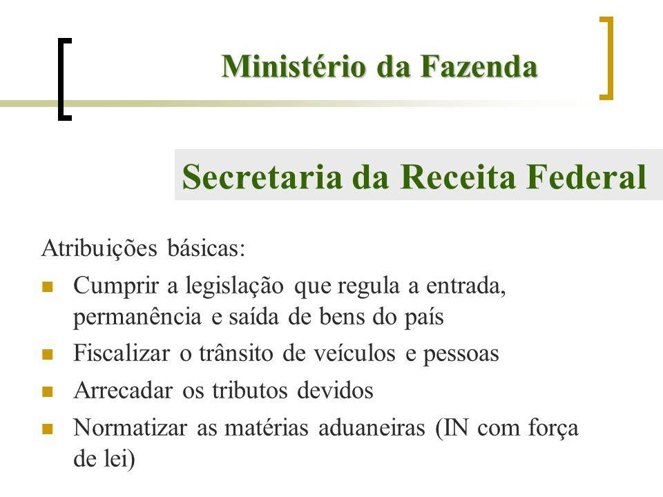 Ministério da Fazenda Atribuições básicas: Cumprir a legislação que regula a entrada, permanência e saída de bens do país Fiscalizar o trânsito de veí