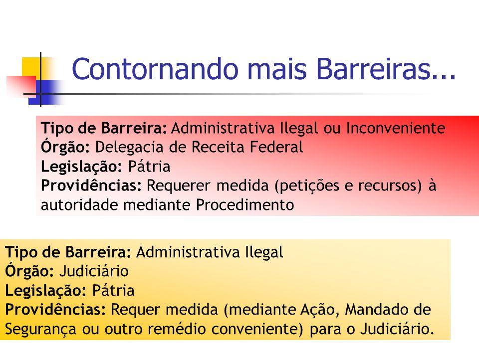 Contornando mais Barreiras... Tipo de Barreira: Administrativa Ilegal ou Inconveniente Órgão: Delegacia de Receita Federal Legislação: Pátria Providên