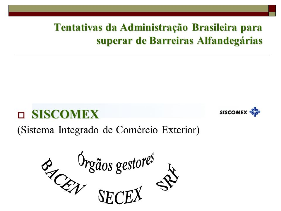 Tentativas da Administração Brasileira para superar de Barreiras Alfandegárias SISCOMEX SISCOMEX (Sistema Integrado de Comércio Exterior)