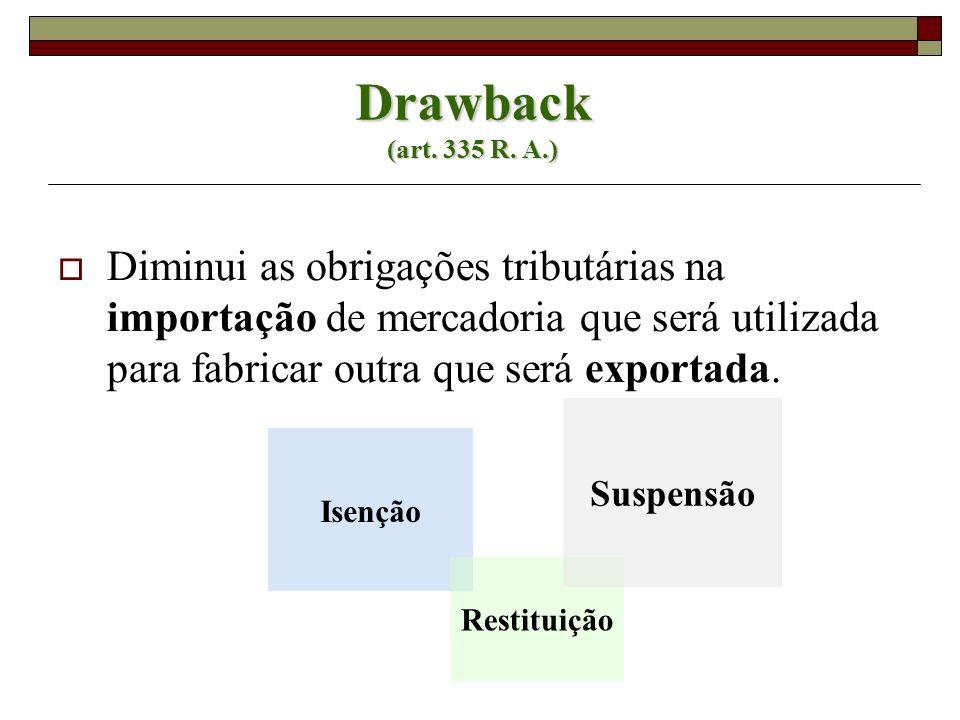 Drawback (art. 335 R. A.) Diminui as obrigações tributárias na importação de mercadoria que será utilizada para fabricar outra que será exportada. Ise