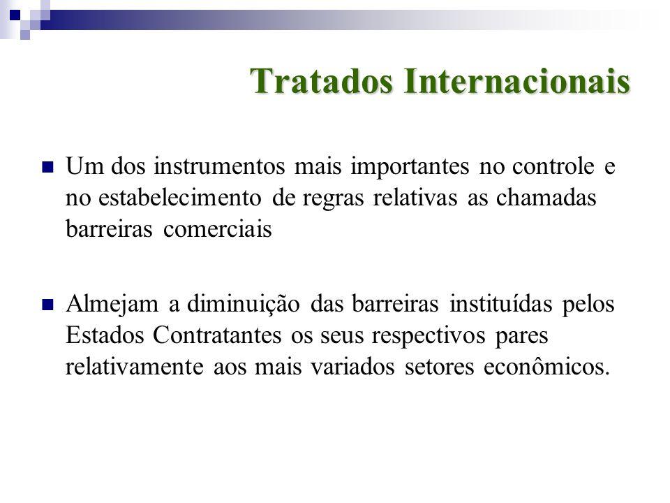 Tratados Internacionais Um dos instrumentos mais importantes no controle e no estabelecimento de regras relativas as chamadas barreiras comerciais Alm