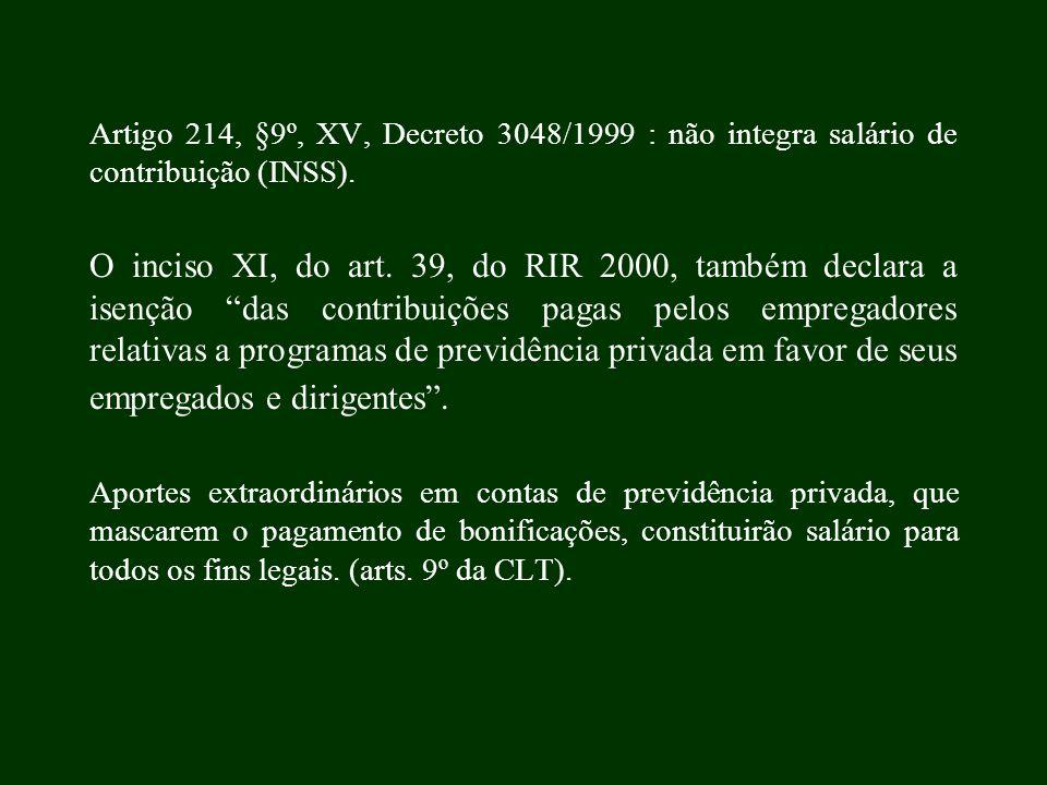 Artigo 214, §9º, XV, Decreto 3048/1999 : não integra salário de contribuição (INSS). O inciso XI, do art. 39, do RIR 2000, também declara a isenção da