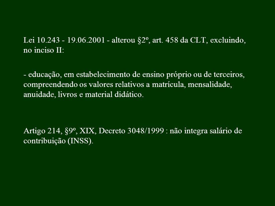 Lei 10.243 - 19.06.2001 - alterou §2º, art. 458 da CLT, excluindo, no inciso II: - educação, em estabelecimento de ensino próprio ou de terceiros, com