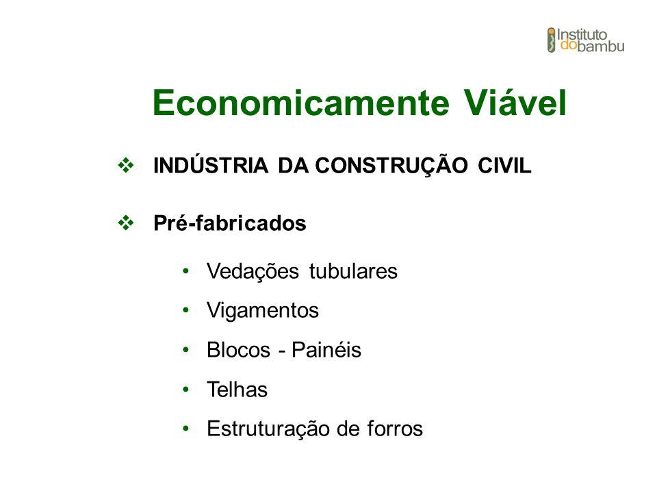 Economicamente Viável INDÚSTRIA DA CONSTRUÇÃO CIVIL Pré-fabricados Vedações tubulares Vigamentos Blocos - Painéis Telhas Estruturação de forros