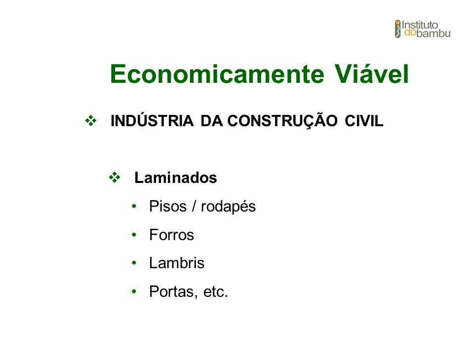 Economicamente Viável INDÚSTRIA DA CONSTRUÇÃO CIVIL Laminados Pisos / rodapés Forros Lambris Portas, etc.
