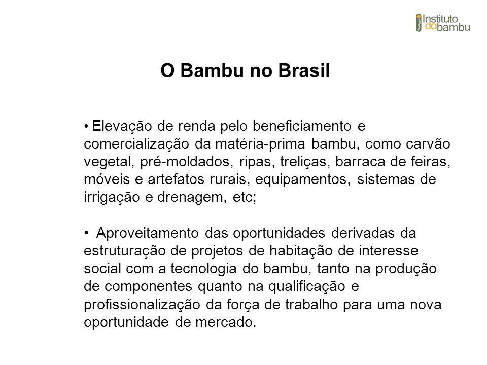 O Bambu no Brasil Elevação de renda pelo beneficiamento e comercialização da matéria-prima bambu, como carvão vegetal, pré-moldados, ripas, treliças,