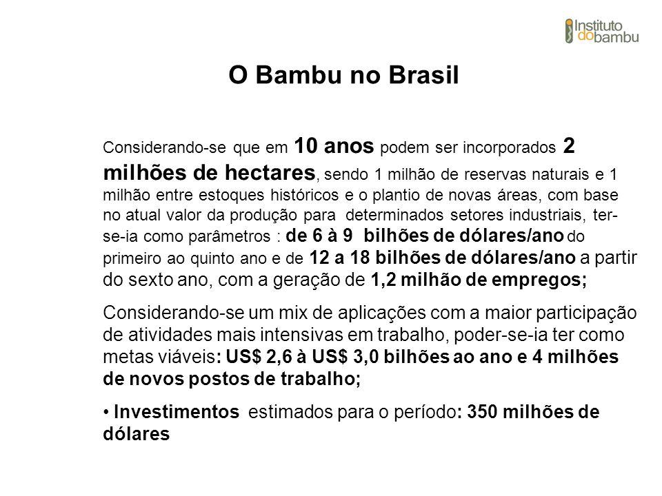 O Bambu no Brasil Considerando-se que em 10 anos podem ser incorporados 2 milhões de hectares, sendo 1 milhão de reservas naturais e 1 milhão entre es