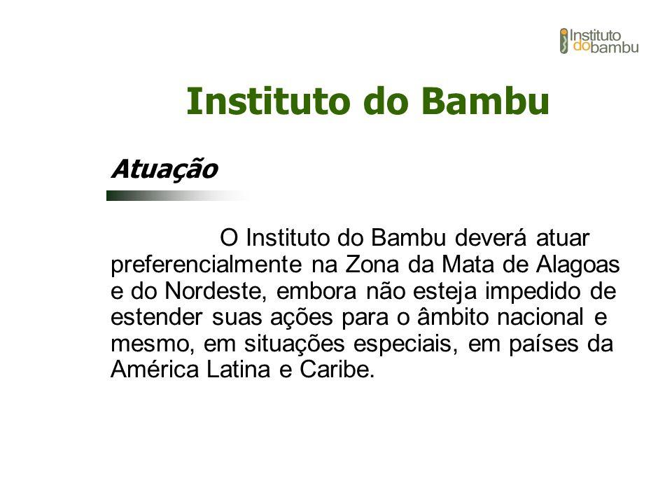 Instituto do Bambu Atuação O Instituto do Bambu deverá atuar preferencialmente na Zona da Mata de Alagoas e do Nordeste, embora não esteja impedido de
